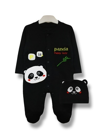 By Leyal For Kids Panda Detaylı Tulum Ve Şapka Takım-8001 Siyah